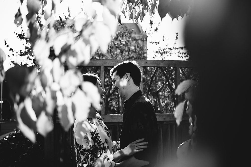 Black and white image of a couple laughing. The image is shot through tree leaves. The engagement session is in New Haven, CT.