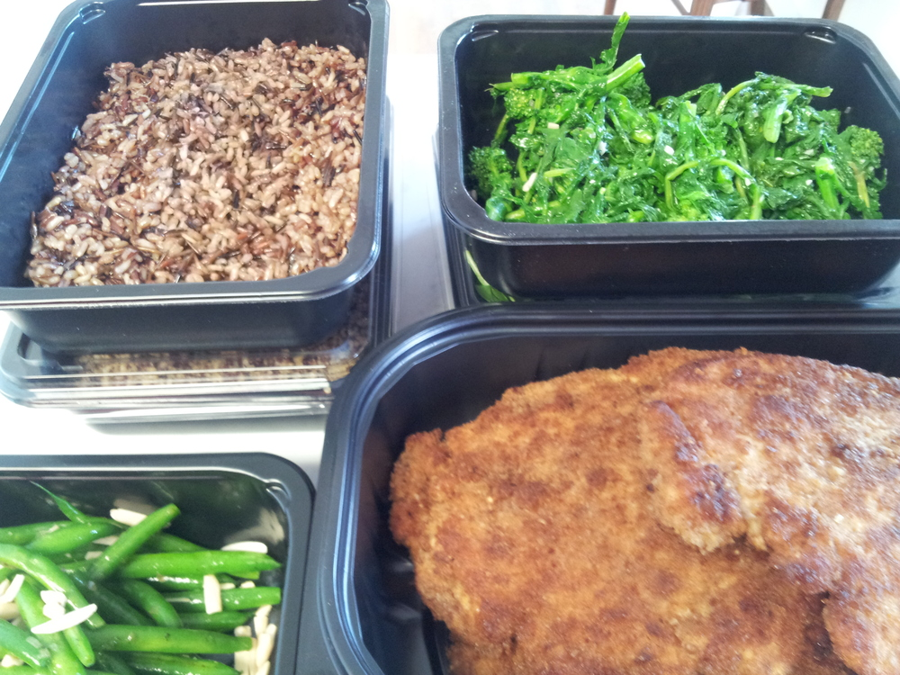Chicken Milanese, Brown Rice Medley, and Sautéed Broccoli Rabe