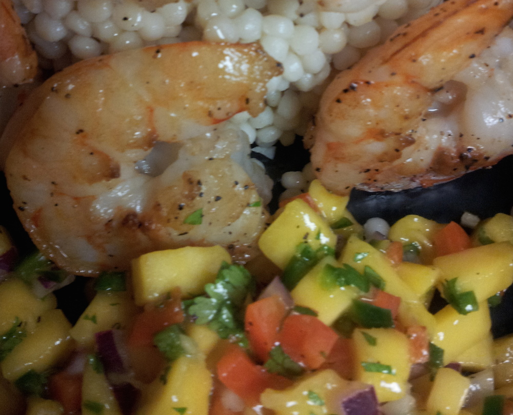 Grilled Wild Shrimp with Mango Salsa and Pearly Couscous