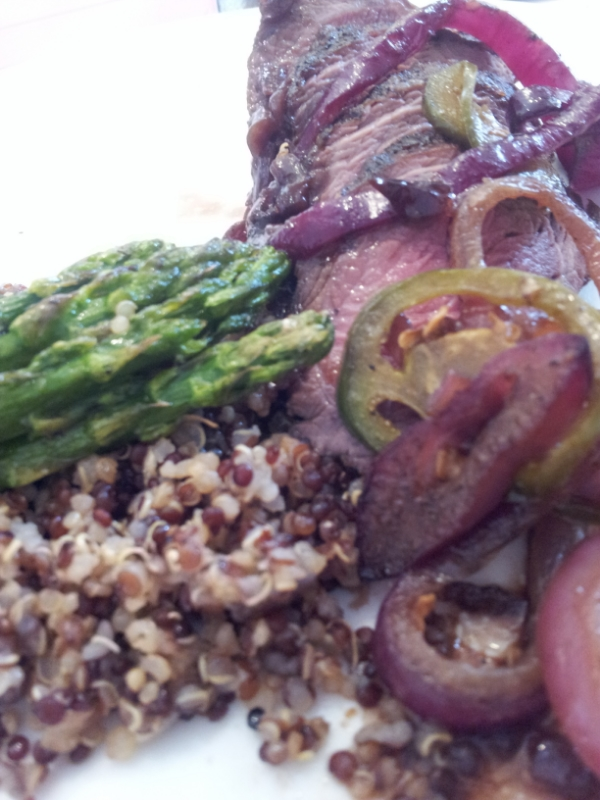 Sirloin with Grilled Onions and Peppers, Quinoa and Asparagu