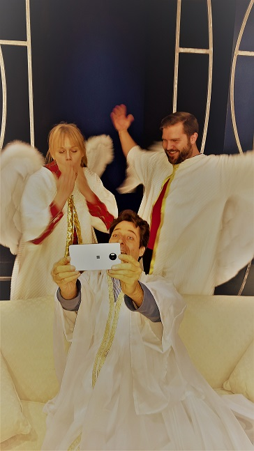 "God TAKES A SELFIE WITH HIS BACKUP GROUP ""THE ANGELS"""