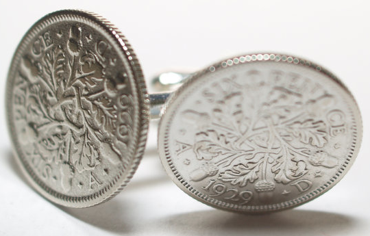 1929 Sixpence Cufflinks from Old Coin Cufflinks $19.99