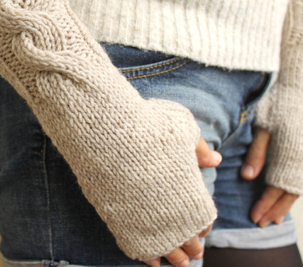 Vanilla Oatmeal Wheat Ecru Cable Warm Womens Fingerless Mittens Gloves Handwarmer from Warm and Soft $28