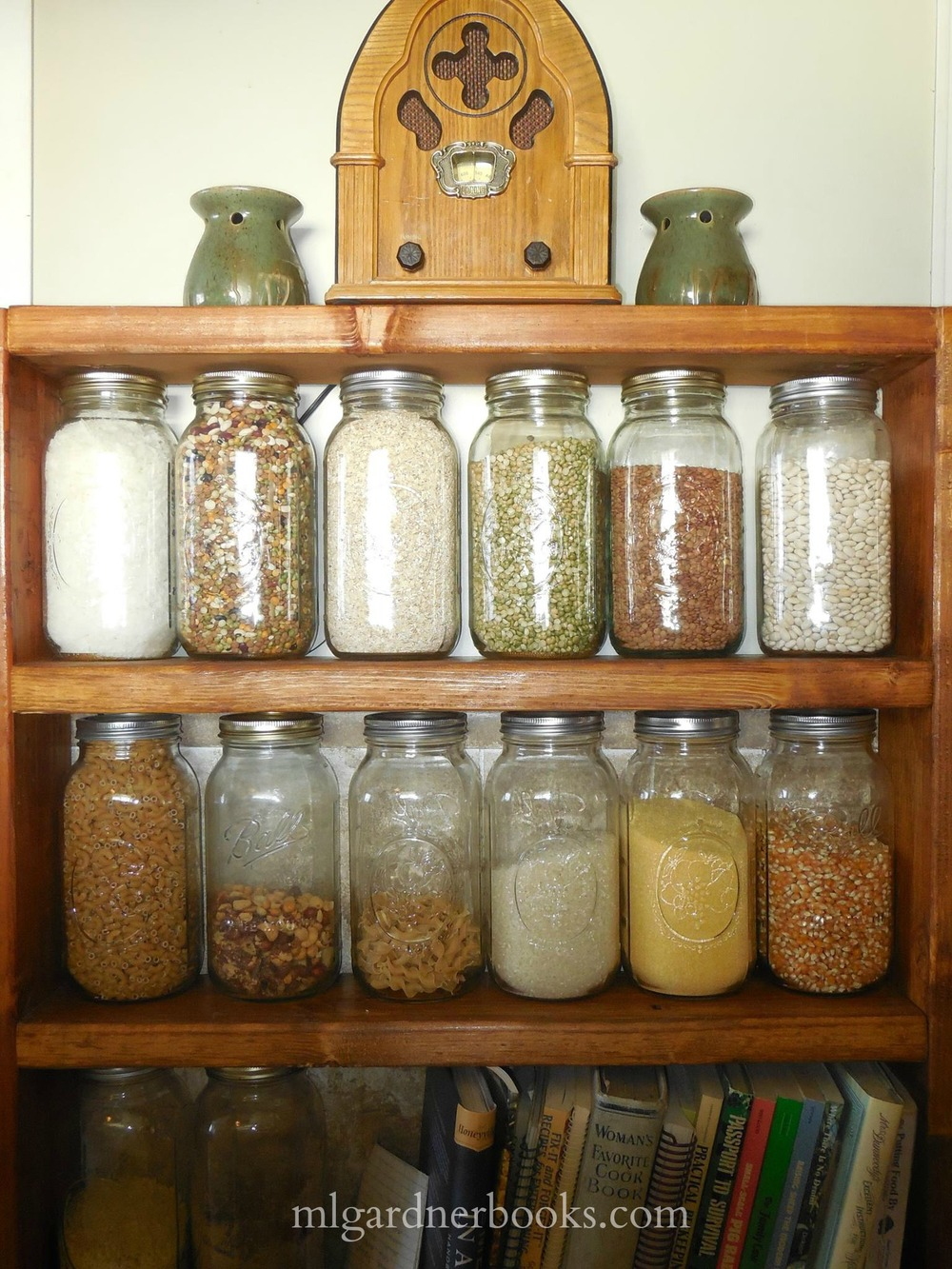 I made these shelves to house my bulk storage items which I store in half gallon mason jars.