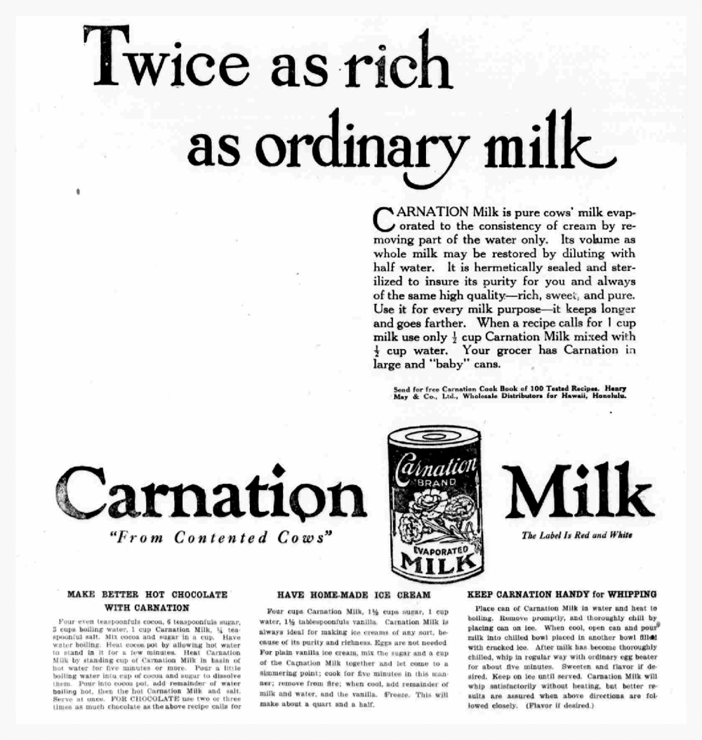 "I love this old ad for evaporated milk. ""From Contented Cows"""