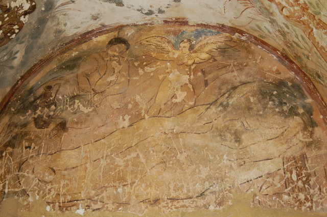 Qasr Amra, death scene, Blake-like wall painting