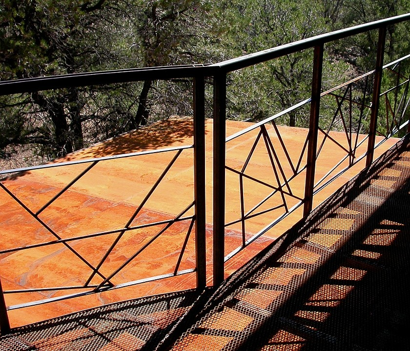 steel deck and railing  word encoding adapted from work of visual artist  Michael Winkler   private residence  Taos, NM
