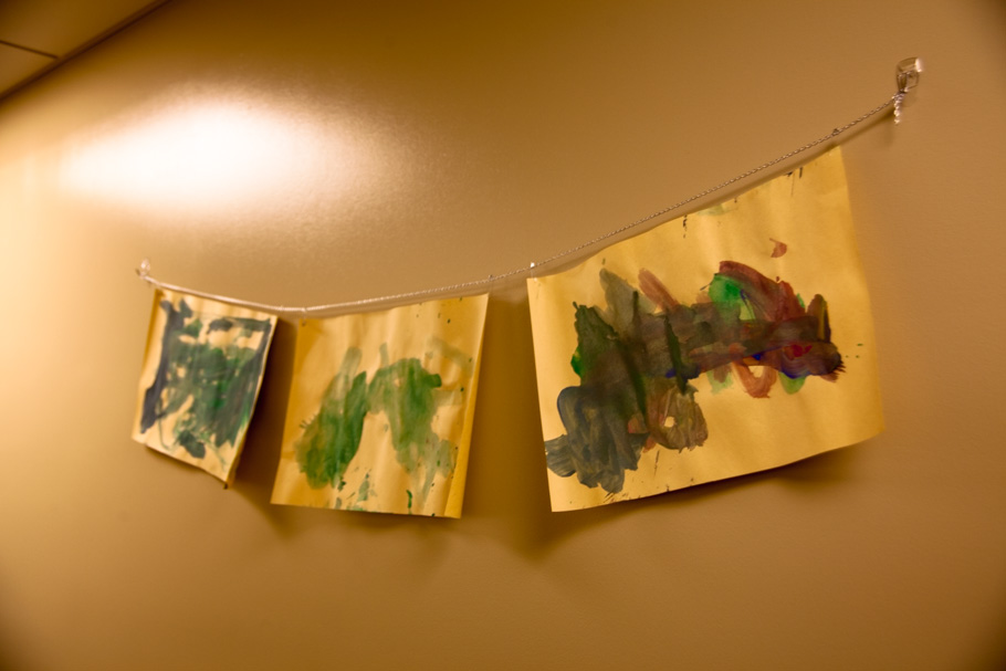 Artwork from residents adorn the halls and communal areas.