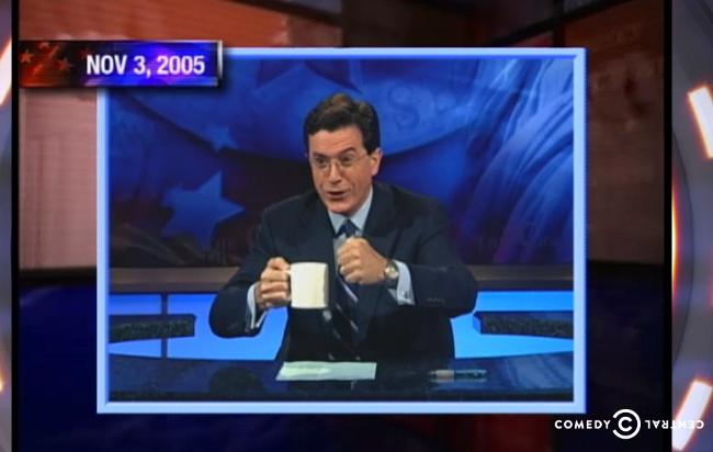 Colbert playing his Ching Chong Ding Dong Character.