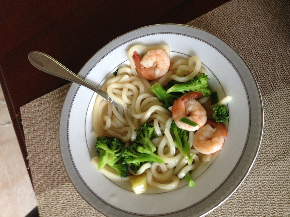 Udon, broccoli and shrimp... I know it doesn't make sense but I thought he would eat it.