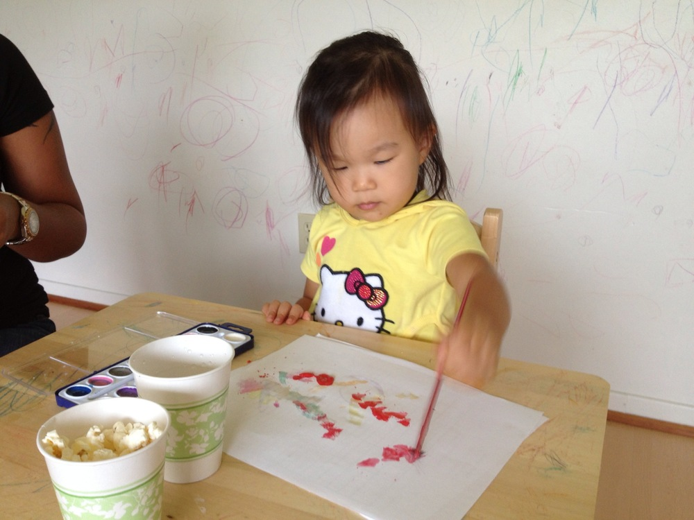 Art time with snacks. This was one of her favorite parts.