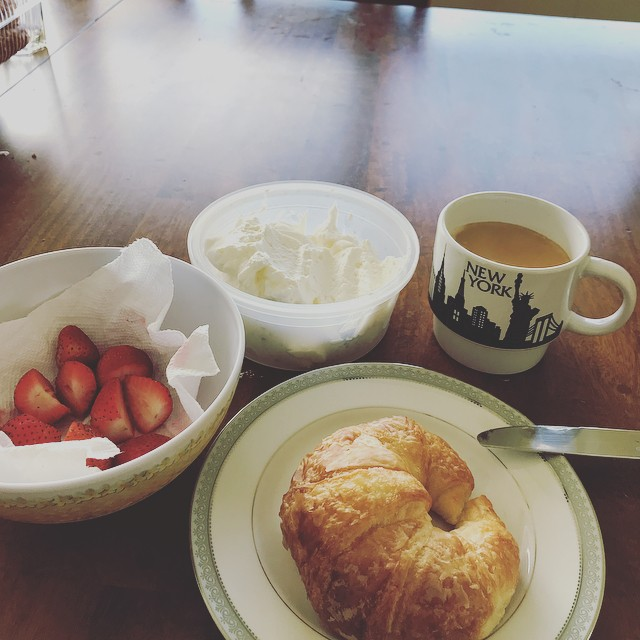 Made my own whipped cream for the first time. Will never buy it again! Whipped cream with strawberries on a croissant w my coffee? Well I don't mind if I do! Living my best life until the kids get home in 10 mins.... #alldownhillfromhere