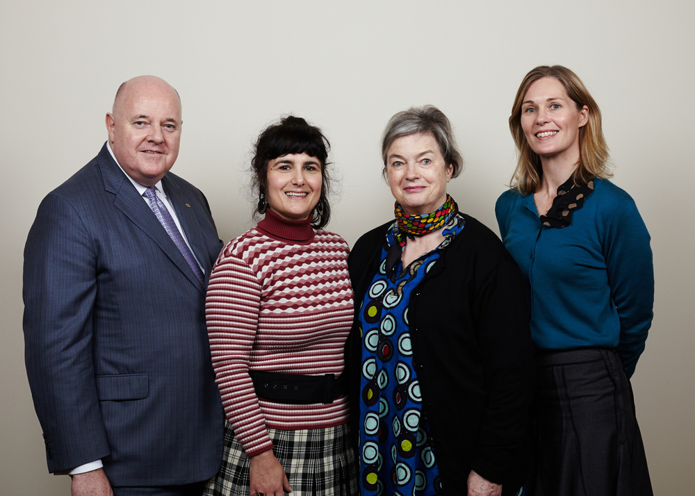 From left: Clive Scott, Chair of The Georges Mora Foundation Inez de Vega, 2014 Georges Mora Foundation Fellow Caroline Williams, Foundation Founder Louise Vigar, former Chair of the Georges Mora Foundation photograph courtesy of State Library of Victoria photographer James Braund.