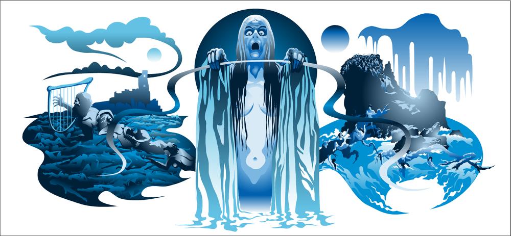 Philip Brophy, The Lady in the Lake, digital verctor mural print series, 2013
