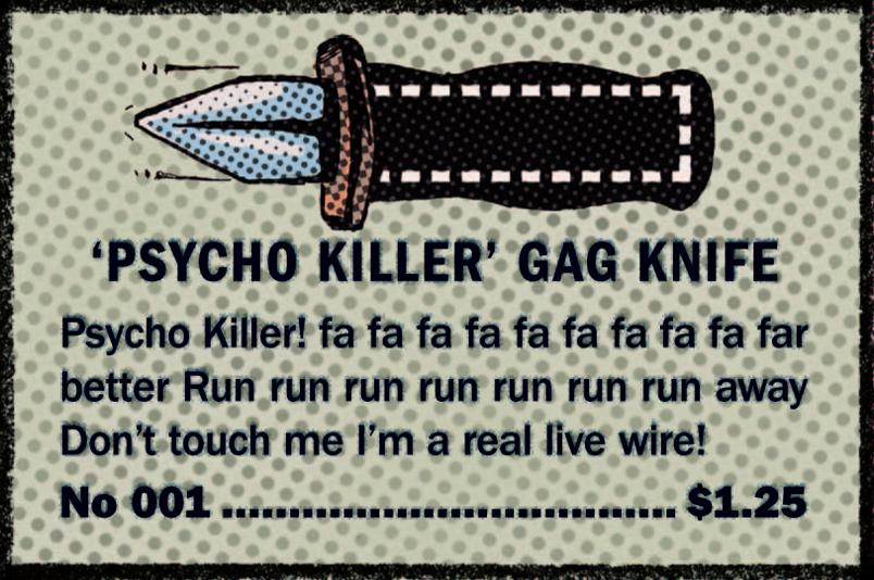Psycho Killer Gag Knife Comic Book Ad