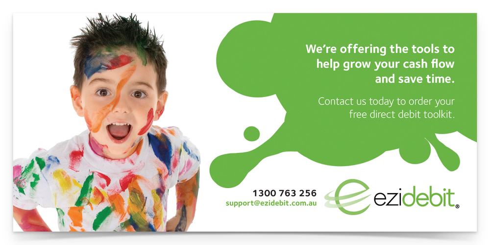 Childcare Brochure: 210mm w x 99mm h, CMYK / 2 sides, 150gsm coated artboard