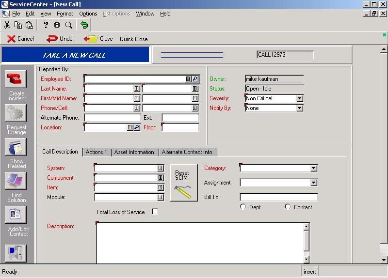 Peregrine ServiceCenter 4.0 (2004)
