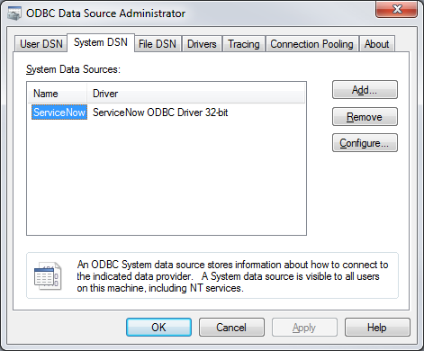 ServiceNow ODBC Data Source Administrator