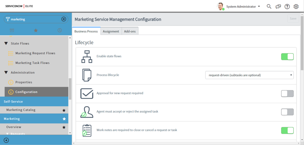 Marketing Configuration Page