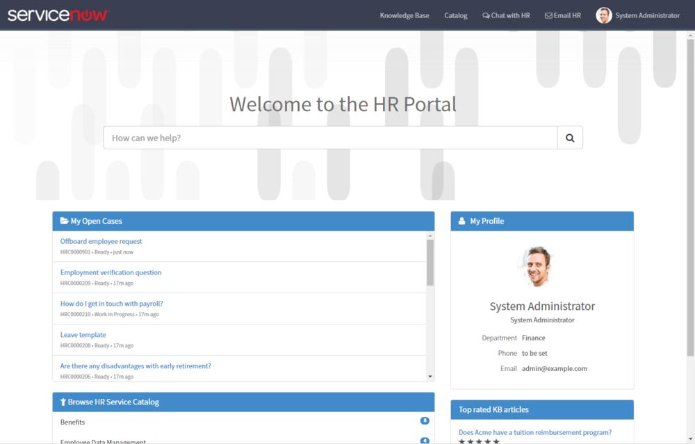 HR Service Portal - Home Page