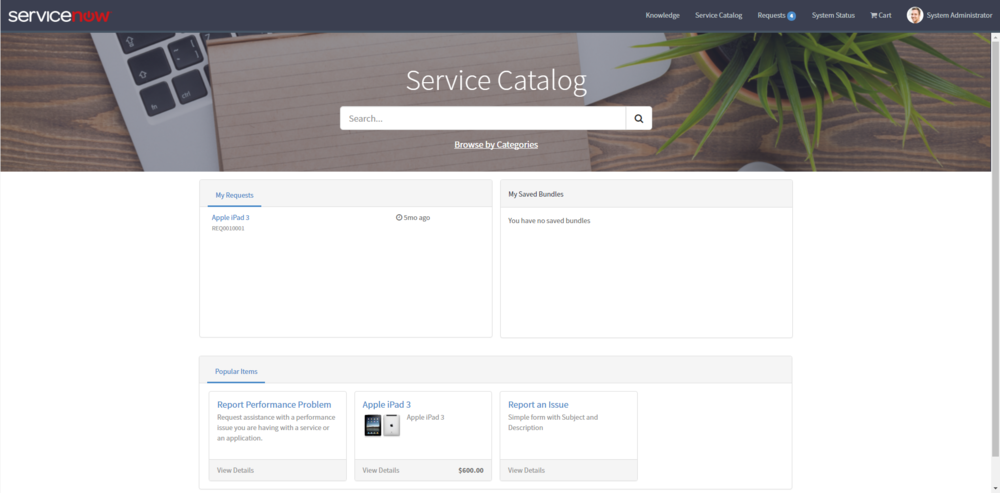 Service Catalog Landing Page
