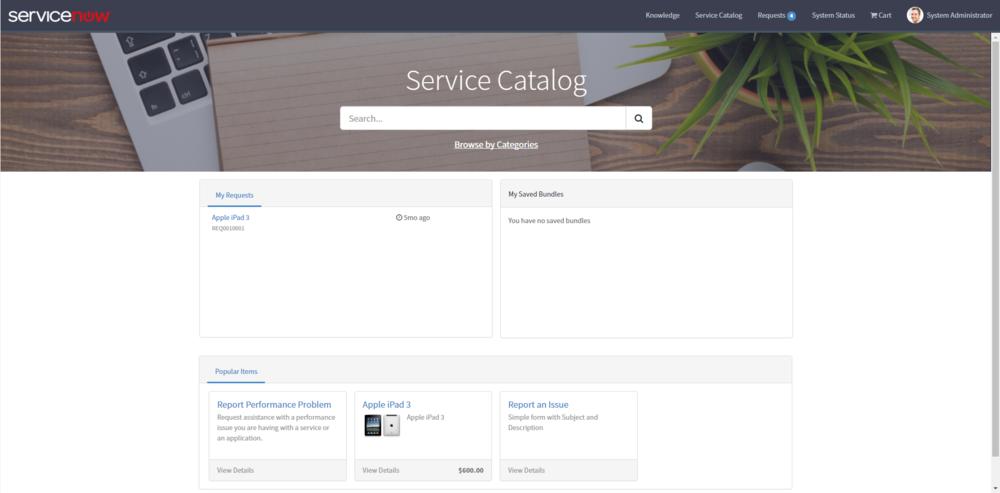 Service Catalog Landing Page