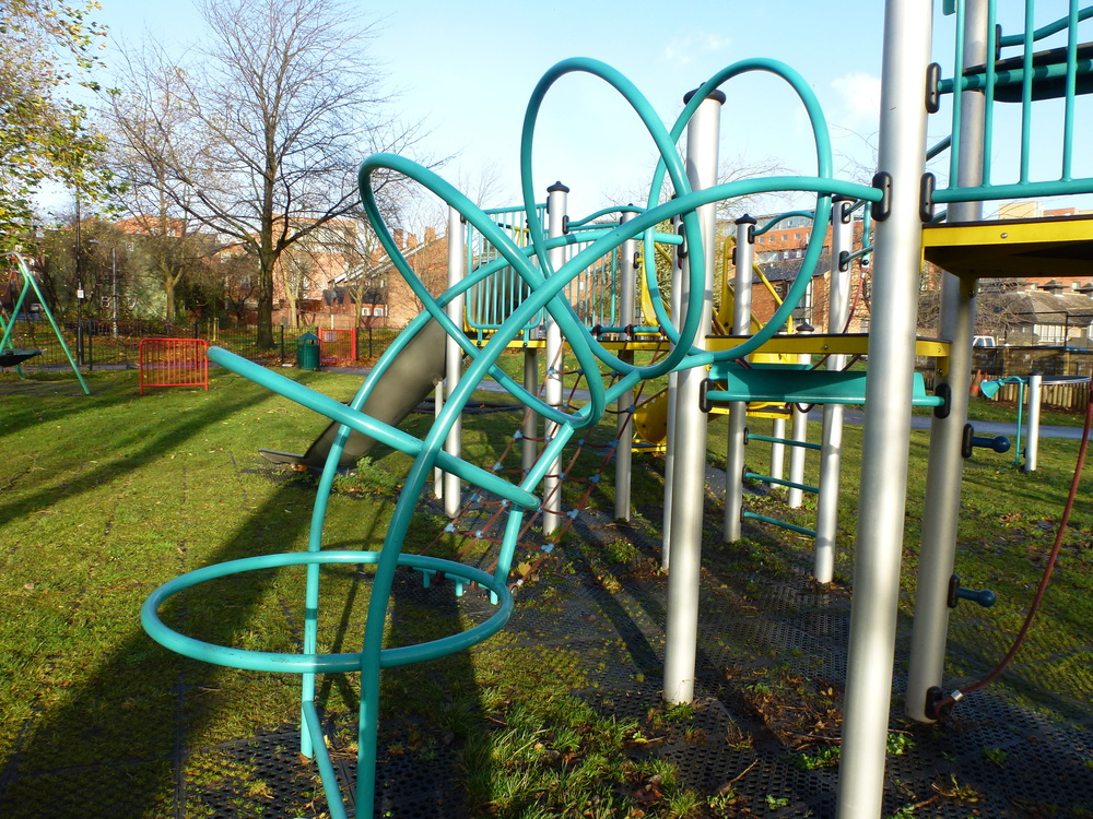 The ubiquitous high-cost metal playground equipment found in most parks in the UK.