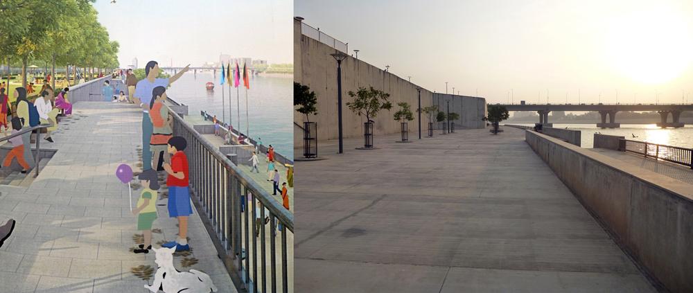 The city's vision for the Sabarmati River (left) and how a particular section of it has turned out in reality (right)