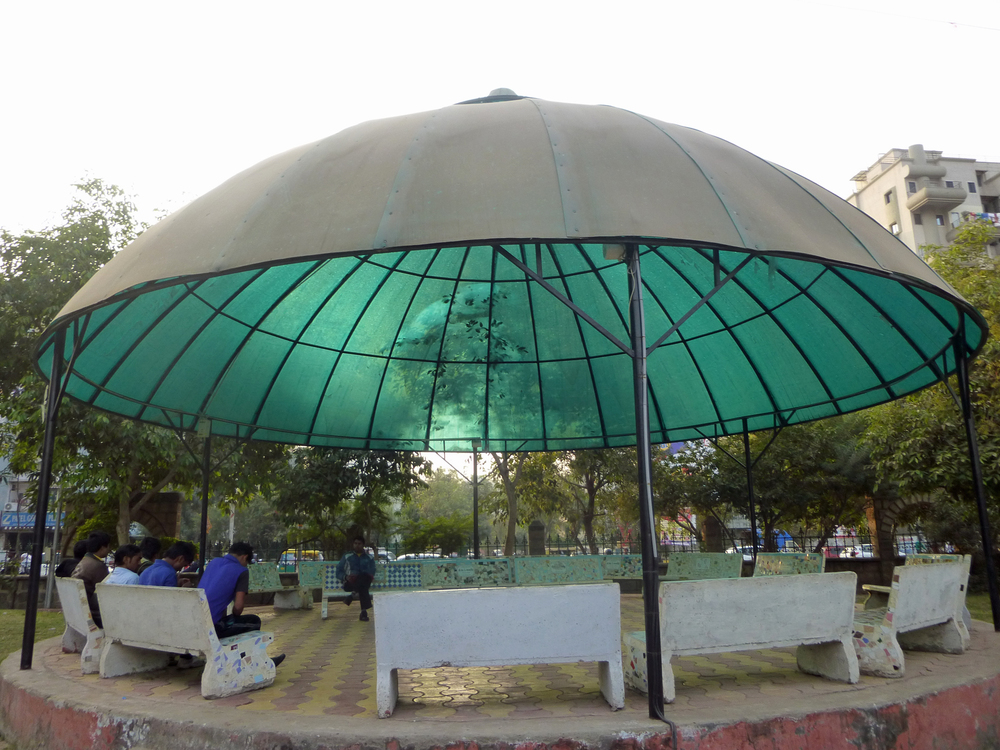 Covered seating area at Vastrapur Lake, West Ahmedabad