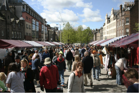 Is Grassmarket's central space still used for markets now the BID is in place in Edinburgh? (photo: Marilyn Higgins, 2010).