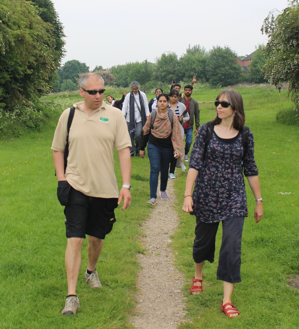Brett showing international students and staff around Manor Fields Park, June 2016.