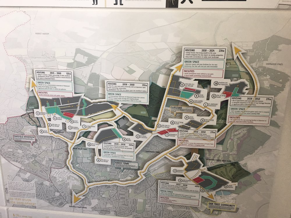 Jonny's map shows future changes to the Sherwood Forest area if we took the health of residents into account when planning urban development.