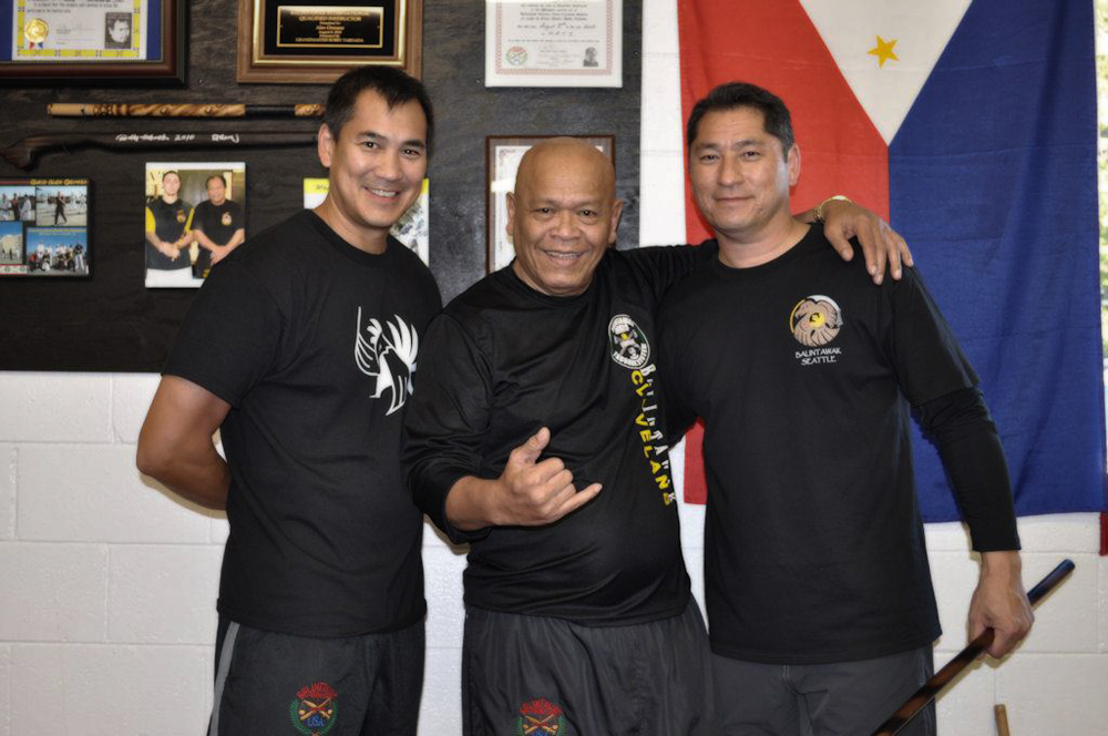(Left to Right) Guro Jeff Soriano, Grandmaster Bobby Taboada, Guro John Soraino