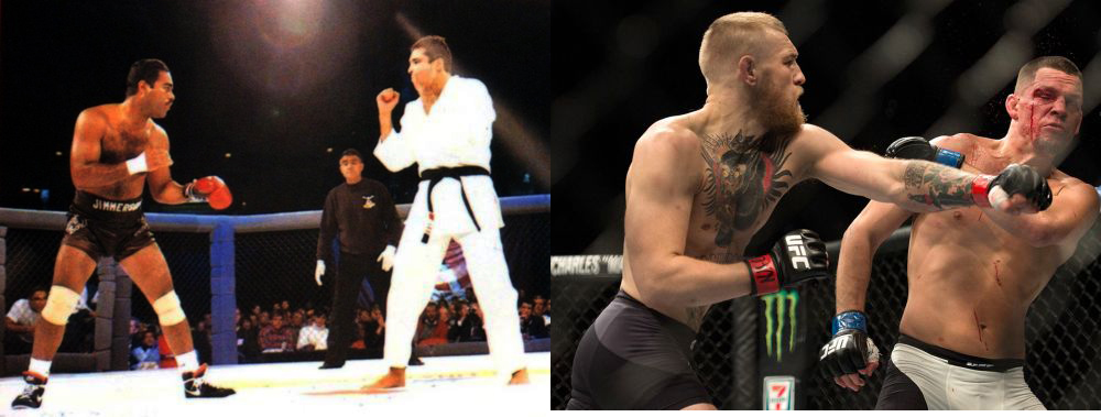 Then and Now. Art Jimmerson (Boxing) versus Royce Gracie (Brazilian Jiu Jitsu) @ UFC 1 (11.12.1993) and Conor McGregor vs Nate Diaz UFC 196 (3.5.16). Images (C) Zuffa