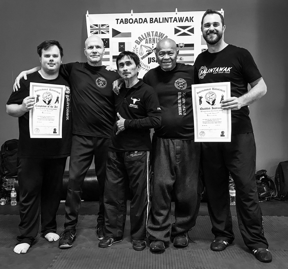 From Left to Right,  COA Jay Swedyk, Guro Patrick Schmitt, Grandmaster Nick Elizar, Grandmaster Bobby Taboada, and Guro Eric Lance at the 2018 World Camp
