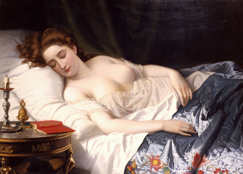 Imogen in her bed-chamber where Iachimo witnesses the mole under her breast. Illustrated by Wilhelm Ferdinand Souchon in 1872.