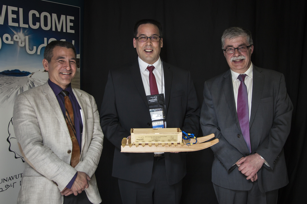 L-R: Hunter Tootoo (Canadian North) Alex Buchan (TMAC Resources) and Bernie MacIsaac (Nunavut Mining Symposium Society).
