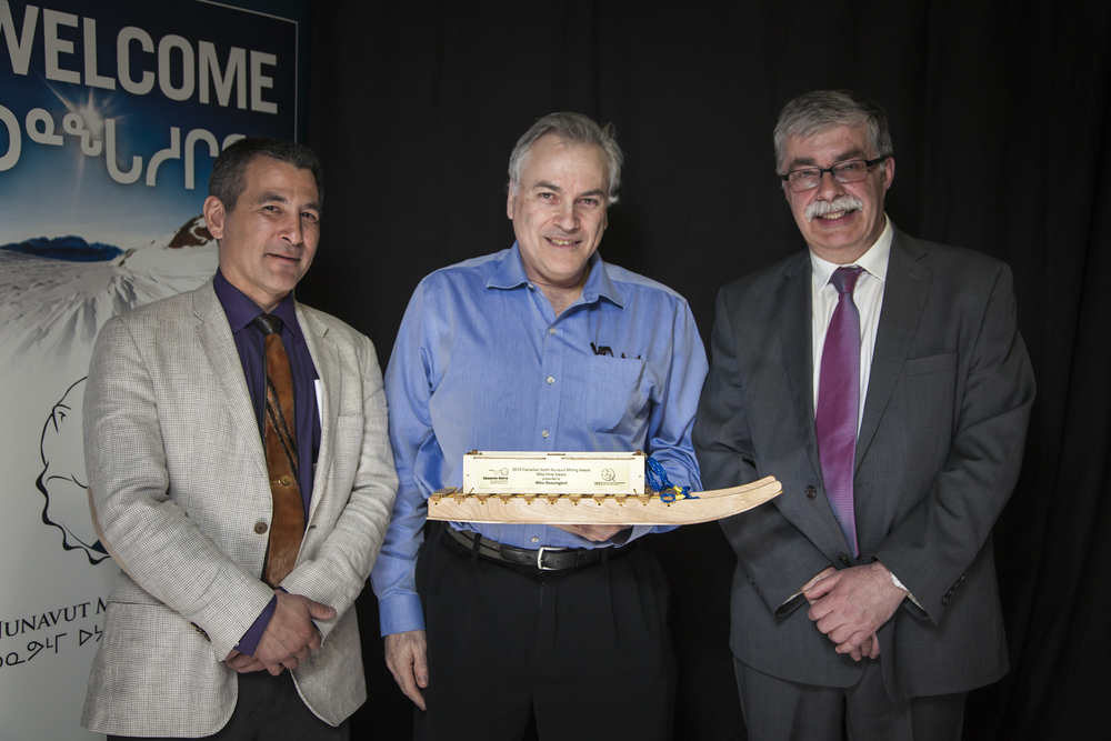L-R: Hunter Tootoo (Canadian North), Mike Beauregaurd (EDT) and Bernie MacIsaac 9Nunavut Mining Symposium Society).