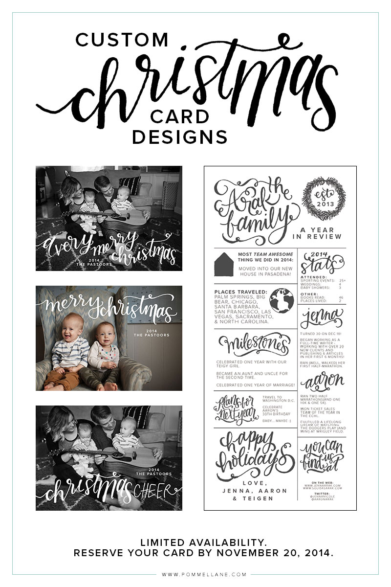 Custom Christmas Card Designs by Pommel Lane. Reserve your spot by November 20, 2014!