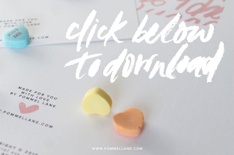 Free Valentine's Day Printable Card & Envelope  |  Design & Lettering by #pommellane #printable #freebie #valentinesday