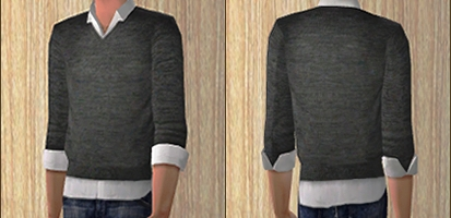 Askemmi Collared Shirt With Rolled Up Sleeves Underneath A Sweater