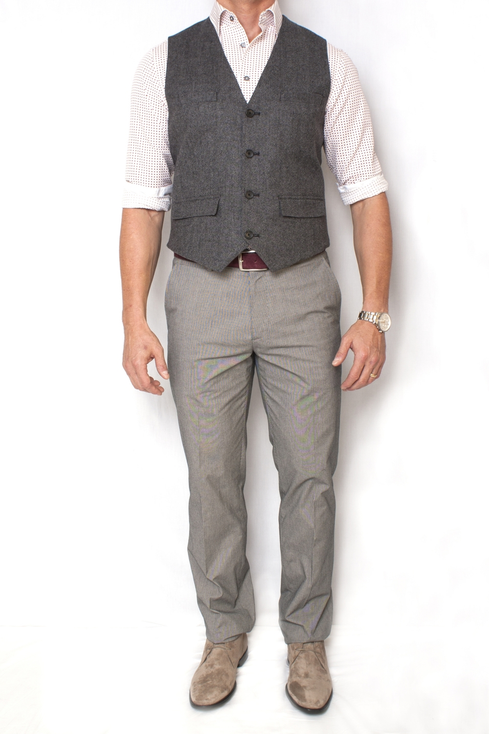 Executive CasuaL - Sometimes referred to as CEO casual. The most formal of the bunch. Executive casual spans from a suit without the tie to slacks with a dress shirt and a blazer, and occasionally chinos or dress denim can be appropriate.