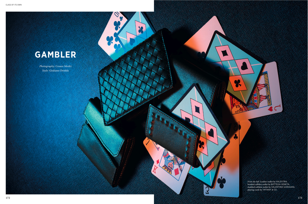 Wallets by VALEXTRA, BOTTEGA VENETA and VALENTINO GARAVANI, playing cards by TIFFANY & CO.