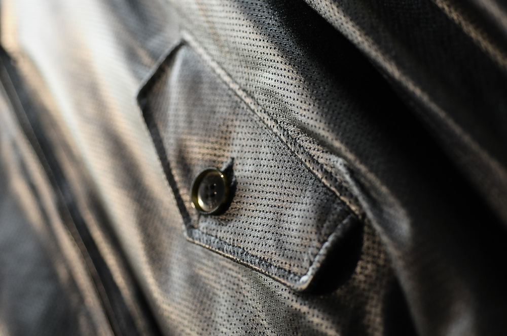 Perforated leather Harrington jacket by BARACUTA