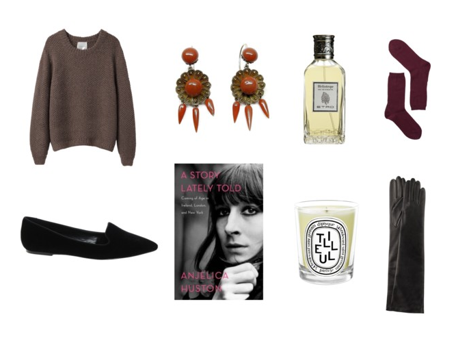"Top: Chunky Pullovers (La Garconne Moderne), Antique Coral Earrings (here or more here and here), Etro Heliotrope, Cozy Wool Socks (Falke). Bottom: Pointy Black Velvet Slippers (here), ""A Story lately told"" by Anjelica Huston, Diptyque Tilleul, Long Leather Gloves (here)."