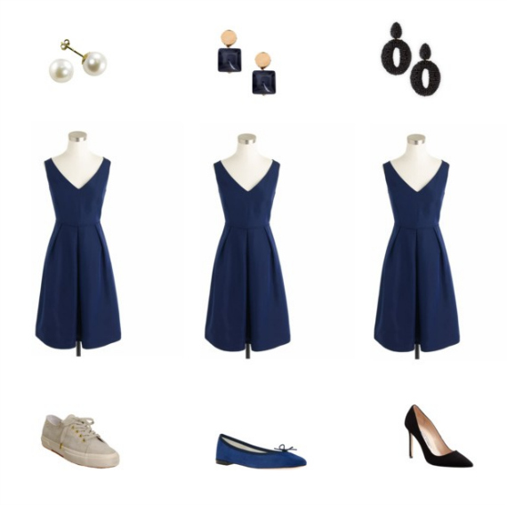 Dress: J Crew. 1: Pearl earrings, Superga shoes. 2: Marni earrings, Repetto ballerina, 3: Oscar De La Renta Earrings, Manolo Blanhik pumps.