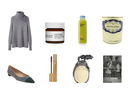 Top: Chunky Turtlenecks ( La Garconne Moderne ),  One Love Organics Vitamin E Eye Balm , Pineapple, Apple, Mint Juice ( Blueprint ),  Sali da Bagno al Melograno ( Santa Maria Novella) . Bottom: Pointy Flats ( Manolo Blahnik ), Burgundy Mascara ( Yves Saint Laurent ), Totoro, True Detective.