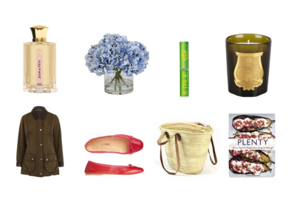 Top: The grand return of Jour de Fete (L'Artisan Parfumeur), Hydrangeas, Be True lipbalm (Tata Harper), La Marquise candle (Cire Trudon). Bottom: Classic Barbour jacket, colorful ballerinas (Porselli), Frenchmarket straw basket (Brookfarm General Store), Ottolenghi's Plenty.