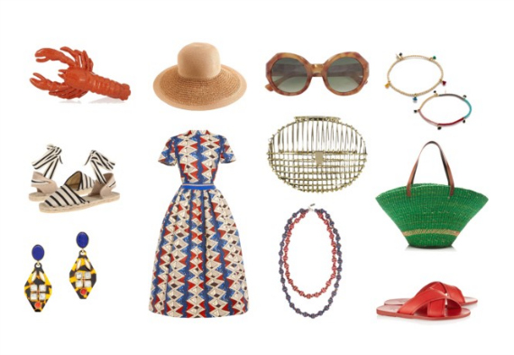 Lobster Ring ( Virzi + De Luca ) , Straw Hat ( J Crew ), Sunglasses ( Dries Van Noten ), Bracelets ( Shashi ), Espadrilles ( Soludos ), Dress ( Stella Jean ), Cage Clutch ( Anndra Neen ), Straw Bag ( Muun ), Tortoise Earrings ( J Crew ), Necklace ( Missoni + V&A ), Leather Sandals ( Ancient Greek Sandals ).