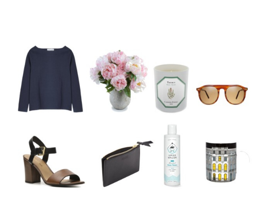 3/4 Sleeve Boat Neck Shirt (Apiece Apart), Pink Peonies, Thyme Candle (Carriere Freres), Horn with Cognac Sunglasses (Autodromo), Block Heel Sandals (Franco Sarto), Zip Pouch (Lotuff), Face Toner (Ursa Major), John Soane House Mug.